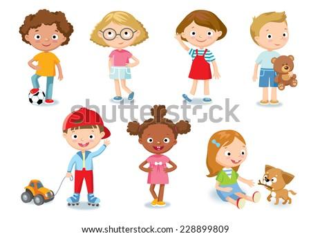 children characters - stock vector
