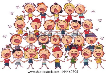 children choir singing vector illustration - stock vector