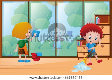 Cleaning The House kids cleaning stock images, royalty-free images & vectors