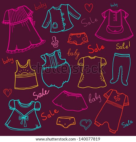 Children clothes sale background - vector - stock vector