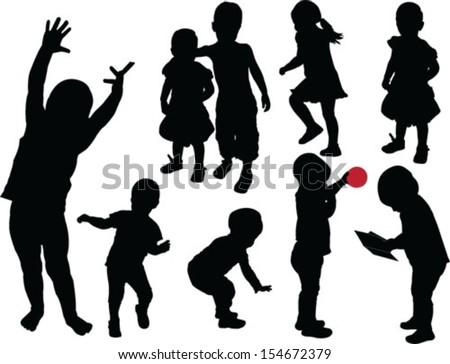 children collection - vector - stock vector