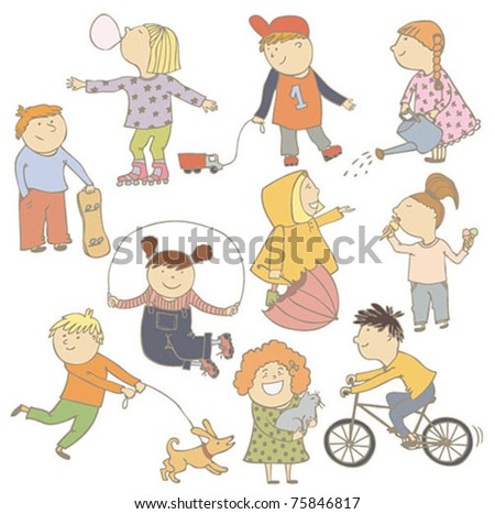 Children color set - stock vector