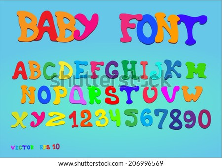 Children colored alphabet on a blue background - stock vector