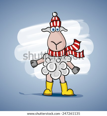 Children colored cartoon illustration, curly lamb with blue eyes, painted shadow, in red and white striped hat and scarf in yellow boots, is located on pale blue background with white spot - stock vector