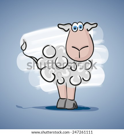 Children colored cartoon illustration, curly lamb with blue eyes, painted shadow, is located on a pale blue gradient background with white spot - stock vector