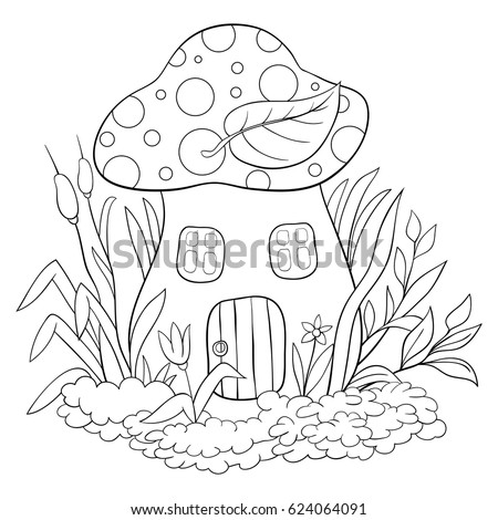 Children Coloring Page A Mushroom HouseCartoon Style Illustration