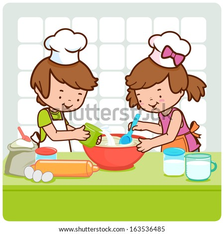 Children cooking in the kitchen. A little boy and a little girl having fun and cooking together in the kitchen. - stock vector