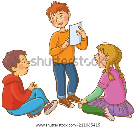 Children discussing  together. Back to School children illustration. Separate Objects on white background. Editorial. Education. VECTOR. - stock vector