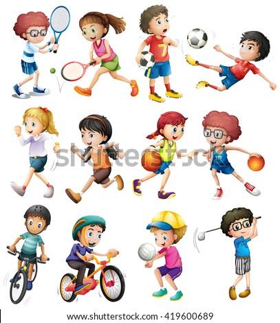 Children doing different sports illustration - stock vector