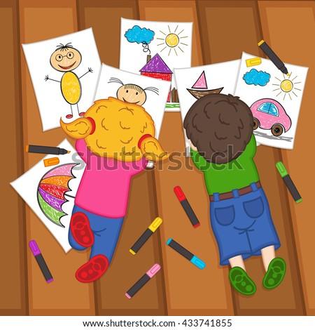 children draw on the floor  - vector illustration, eps  - stock vector