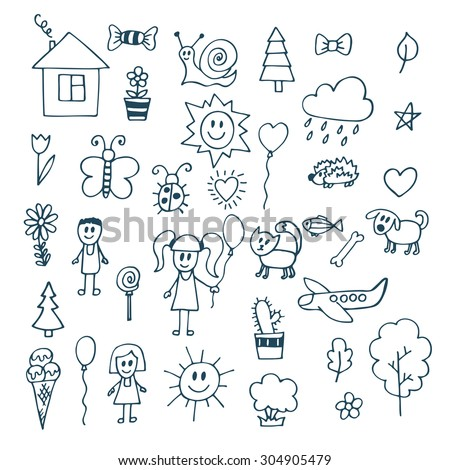 children drawing doodle set of objects from a childs life vector illustration - Child Drawing Book