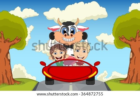 Children driving a car on the street with cow, goat, sheep and pig cartoon vector illustration - stock vector
