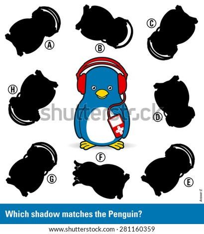 Children educational puzzle - match the shadow to the cute cartoon penguin with music player from an assortment of eight different silhouette shapes, vector illustration - stock vector