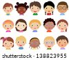 Children face set - stock vector