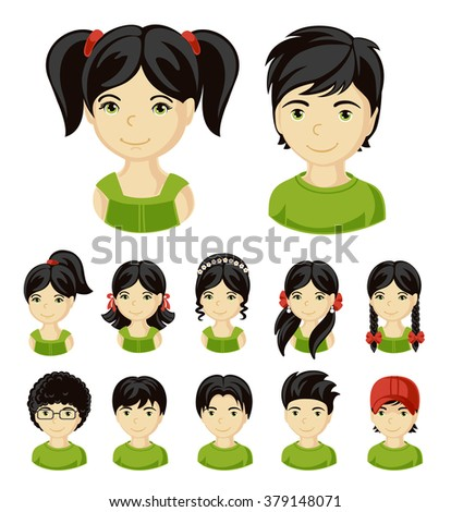 Children face set. Vector illustration set of different avatars of boys and girls on a white background. Collection of portraits kids.