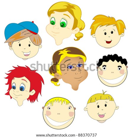 children faces against white background, abstract vector art illustration