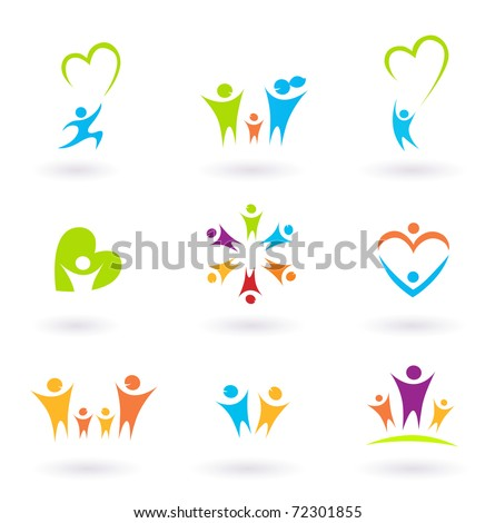 Children, family, community and protection icons and symbols - stock vector