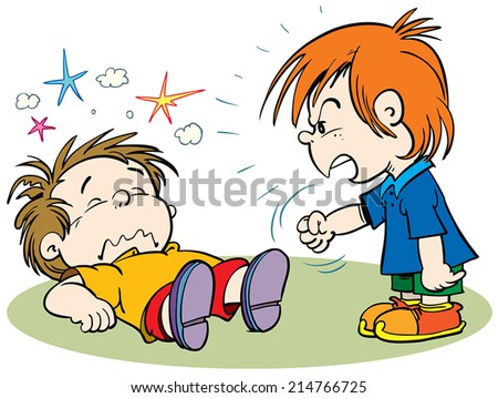 children fighting - stock vector