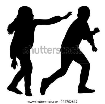 children fighting silhouette vector