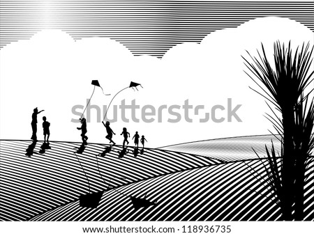 Children flying kites silhouette in black and white, woodcut - stock vector