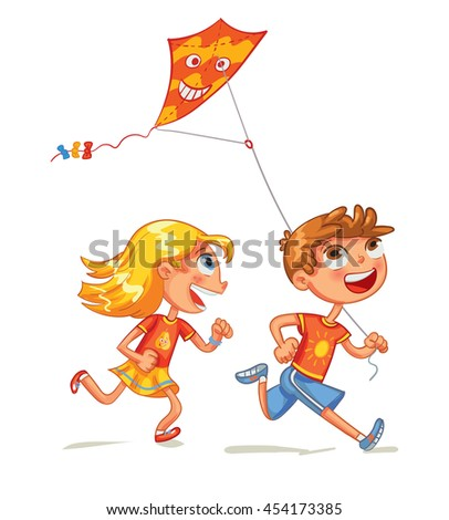 Children flying the kite. Funny cartoon character. Vector illustration. Isolated on white background - stock vector