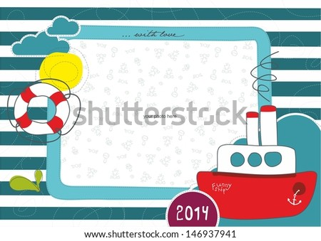 Children frame with funny ship - stock vector