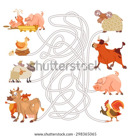 Children game with cartoon farm animals. Help the families meet.Find right ways. Bull,cow with calf,pig family,sheep. Visual puzzle,maze,labyrinth game for preschool education. Vector illustration - stock vector