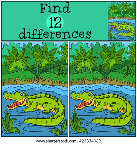 Children games: Find differences. Little cute alligator stands in the water and smiles.