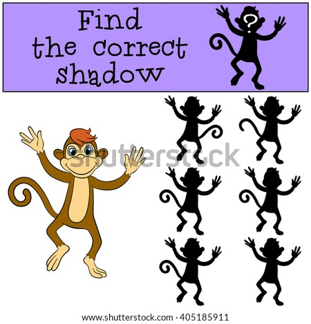 Children games: Find the correct shadow. Little cute monkey runs and smiles.