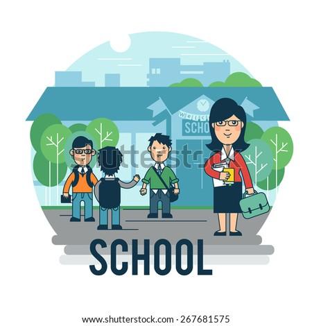 Children go to school. - stock vector