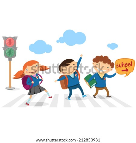 Children go to school across the road on the green traffic signal - stock vector