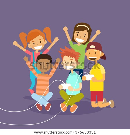Children Group Holding Joystick Playing Computer Video Game Flat Vector Illustration - stock vector