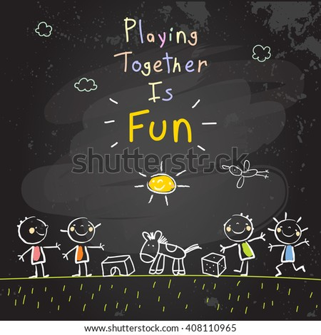 Children, group of kids, playing together outdoors with toys. Vector illustration, chalk on blackboard doodle, hand drawn sketch, scribble.  - stock vector