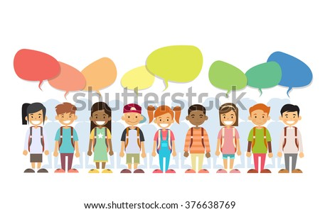 Children Happy Smile Group Colorful Chat Box Social Communication Flat Vector Illustration - stock vector