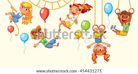 Children have fun on the rides. Amusement park. Playground. Kid weighs on the rings upside down. Climbing up along the rope. Swinging on swing. Vector illustration. Isolated on white background - stock vector
