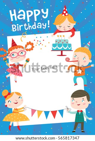 Children Having Fun Birthday Party Template Stock Vector 565817347