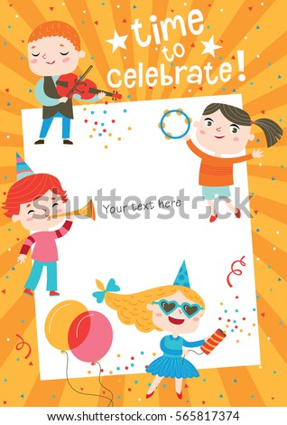 Children having fun birthday party template em vetor stock 565817374 children having fun at birthday party template for making birthday cards posters invitation stopboris Choice Image