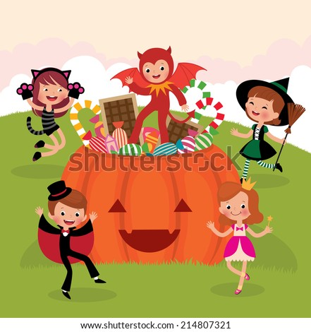Children having fun at the Halloween party in costumes monsters/Children at Halloween party/Illustration of Children in costume monsters celebrate Halloween - stock vector