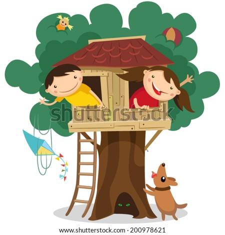 Children having fun in the treehouse. Vector illustration. - stock vector