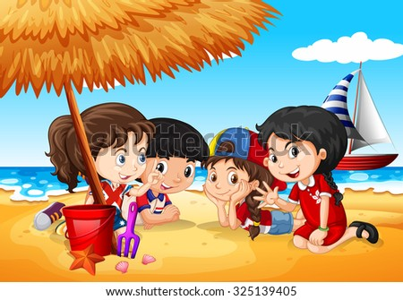 Children having fun on the beach illustration - stock vector