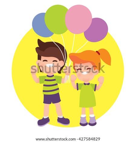 Children holding balloons - stock vector