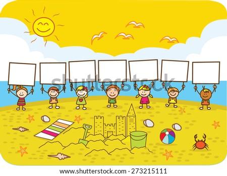 Children holding banner - stock vector