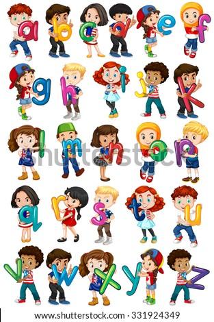 Children holding english alphabets illustration