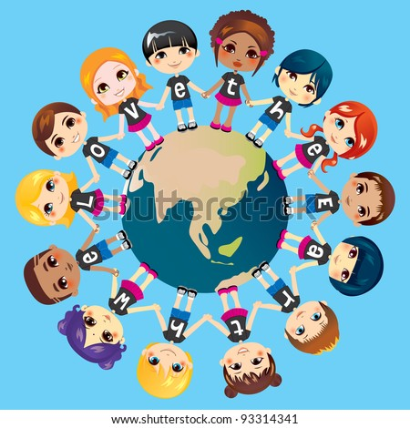 Children holding hands around the world wearing shirts with the text phrase We love the Earth - stock vector