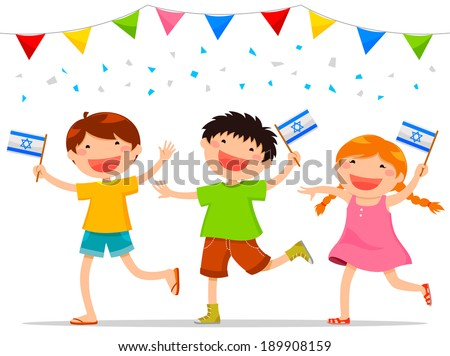 children holding Israeli flags celebrating Israel�s independence day - stock vector