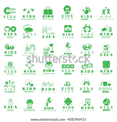 Children Icons Set-Isolated On White Background.Vector Illustration,Graphic Design.
