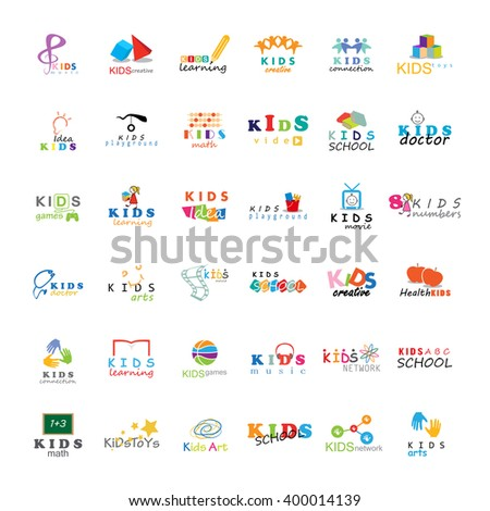Children Icons Set-Isolated On White Background.Vector Illustration,Graphic Design.For Web,Websites,App,Print,Presentation Templates,Mobile Applications,Promotional Materials.Kids Note,Book,Logo Bulb - stock vector