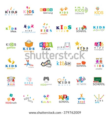 Children Icons Set-Vector Illustration,Graphic Design.For Web,Websites,App,Print,Presentation Templates,Mobile Applications,Promotional Materials.Kids Note,Balloon,Handprints,Book,Vision,Bulb,Collage  - stock vector