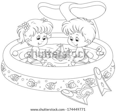 Children in a kids pool - stock vector