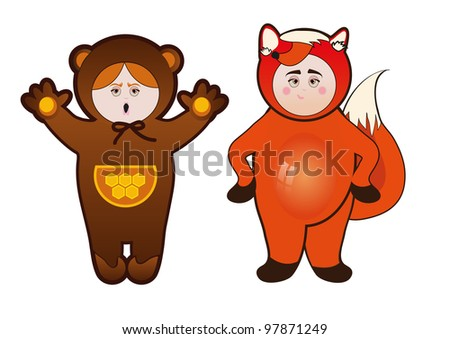 children in carnival costumes Bear and Fox - stock vector